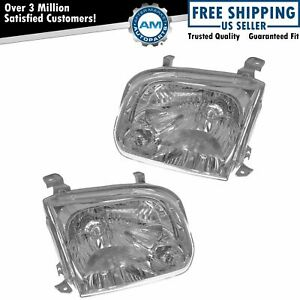 Headlights Headlamps Pair Set For Toyota Sequoia Tundra Pickup Truck