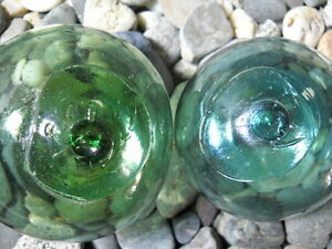 2 Glass Japanese Glass Floats Smiley Faces Alaska Beachcombed