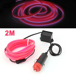 Pink 2m Sewable El Wire Neon Glow Light Rope Sew Tag Strip W Controller