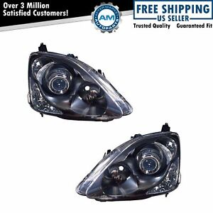 Black Projector Performance Headlight Pair Set For 02 05 Honda Civic Hatchback
