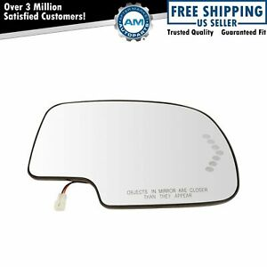 Mirror Glass Heated W Turn Signal Passenger Side Rh For Chevy Gmc Cadillac