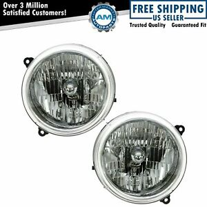 Headlights Headlamps Left Right Pair Set New For 02 04 Jeep Liberty