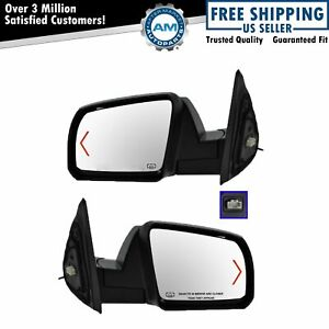 Power Heated Signal Side Mirror Textured Caps Covers Pair Set For Sequoia Tundra