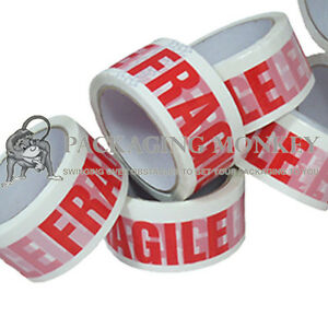 144 X Rolls Of Fragile Printed 2 Packing Parcel Tape