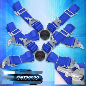 New Jdm 4 Point Safety Harness Camlock 2 Inch Nylon Strap Seat Belts Pair Blue
