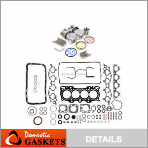 Fit 99 01 Honda Cr V 2 0l Dohc Full Gasket Pistons Bearings Rings Set B20z2