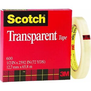 6 Pk 3m 1 2 X 72 Yd Scotch Transparent Wrapping Packaging Tape 600