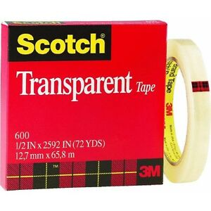 72 Pk 3m 1 2 X 72 Yd Scotch Transparent Wrapping Packaging Tape 600