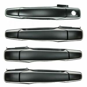 Black Outside Exterior Door Handle Set Of 4 Kit For Chevy Gmc Pickup Truck Suv