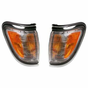 Chrome Trim Corner Parking Light Lamp Pair Set For 95 97 Toyota Tacoma 4x4 4wd