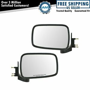 Chrome Manual Side Mirrors Left Right Pair Set For 86 93 Mazda Pickup Truck