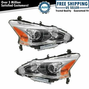 Headlight Head Lamp Halogen Lh Left Rh Right Pair For 13 15 Nissan Altima Sedan
