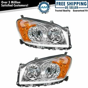 Front Headlight Headlamp Light Lamp Pair Set W Signal For 09 12 Toyota Rav4