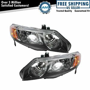 Headlights Headlamps Left Right Pair Set For 06 08 Honda Civic 4 Door Sedan