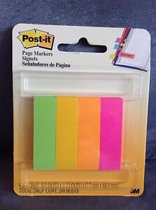 Post it Page Markers 200 Count green Yellow Orange Pink New In Package