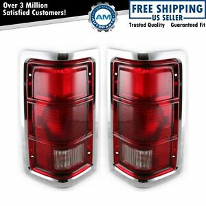 Taillights Lamp With Chrome Trim Pair Set For 81 87 Ramcharger Pickup Truck