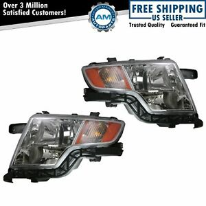 Front Headlights Headlamps Lights Lamps Left Right Pair Set For 07 10 Ford Edge