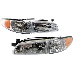 Headlights Headlamps Left Right Pair Set New For 97 03 Pontiac Grand Prix