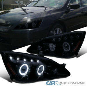 Glossy Black Fit Honda 03 07 Accord Tinted Led Halo Projector Headlights Lamps