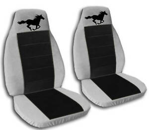 2 Silver And Black Running Horse Seat Covers 2010 Vw Beetle Airbag Friendly
