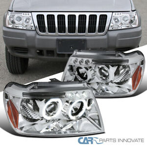 Jeep 99 04 Grand Cherokee Clear Led Halo Projector Headlights Head Lamps Pair