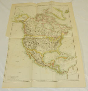 1875 Antique Color Map North America Large 13x19