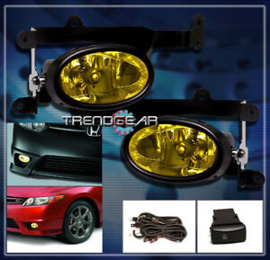 2006 2007 2008 Honda Civic Dx Ex Lx Si Coupe 2dr Bumper Yellow Fog Light Harness