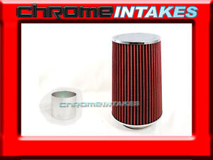 Red Universal 3 5 Tall Flange Cone Air Filter For Ford Air Intake pipe