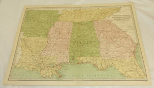 1878 Antique Color Map Tn Ga Mi La Al Ar Fl Large 12 5x17 Plus Index
