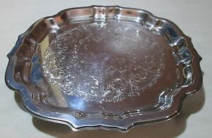 Wm Rogers Silverplate Oneida 4 Footed Square Scalloped Tray 11 1 2 Ornate