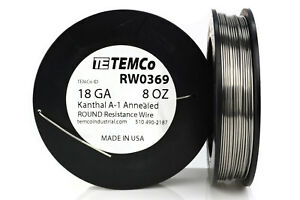 Temco Kanthal A1 Wire 18 Gauge 8 Oz 126 Ft Resistance Awg A 1 Ga