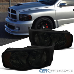 For 02 05 Dodge Ram 1500 2500 3500 Euro Replacement Smoke Lens Headlights Lamps