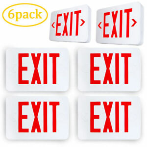 6pcs Led Red Emergency Exit Sign Light Lighting Modern Battery Backup Ul924
