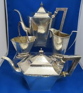 Meriden Sterling Silver Hand Hammered Coffee Tea Set C 1898 Heat Wafers No Mono