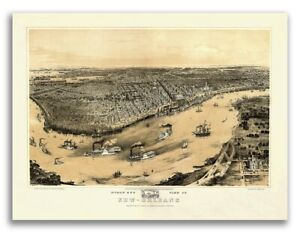 New Orleans Lousiana 1851 Historic Panoramic Town Map 18x24