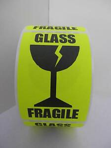 Fragile Glass Large Intl Symbol Fluor Chartreuse Warning Stickers Labels 250 rl