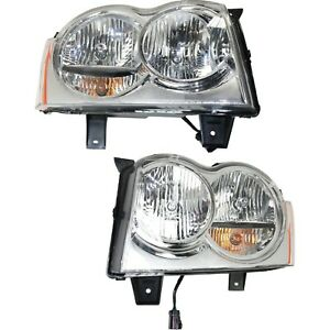 2005 2007 For Jeep Grand Cherokee Headlights Headlamps Pair Left Right