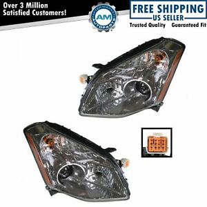 Halogen Headlights Headlamps Left Right Pair Set New For 07 08 Nissan Maxima