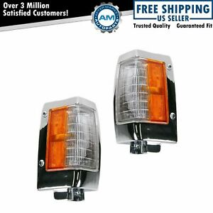 Chrome Parking Corner Side Marker Signal Light Lamp Pair Set For 90 97 D21