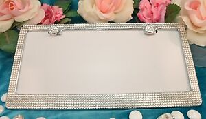 Clear Diamond Crystal Bling License Plate Frame Made With Swarovski Crystals
