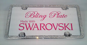 3 Row Clear Crystal Bling License Plate Frame Made With Swarovski Elements