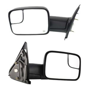 Tow Mirror Set For 2002 2009 Dodge Ram 1500 Driver Passenger Side Power Heated