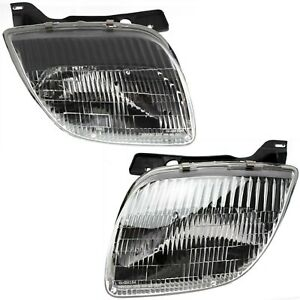 Headlight Set For 95 2002 Pontiac Sunfire Left And Right With Bulb 2pc