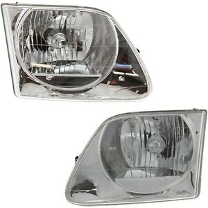 97 03 02 Replacement Headlight For Ford F150 Lightning Svt expedition Pair bulb