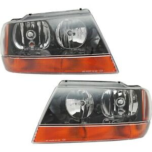 Headlight Set For 99 2004 Jeep Grand Cherokee Left And Right Black Housing 2pc