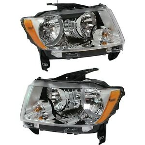 Headlight Set For 2011 2012 2013 Jeep Compass Left And Right 2pc