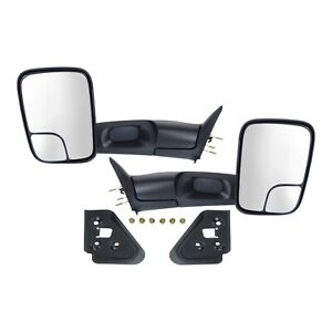 Manual Mirror Set Of 2 For 1994 2001 Dodge Ram 1500 Towing Manual Folding Black