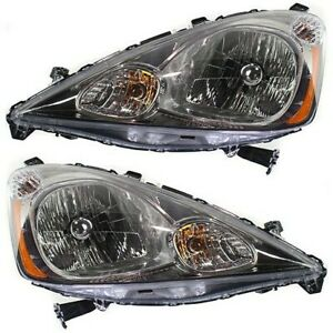 Headlight Set For 2009 2010 2011 Honda Fit Left And Right With Bulb 2pc