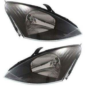 Headlight Set For 2003 2004 Ford Focus Left And Right Gray Housing With Bulb 2pc