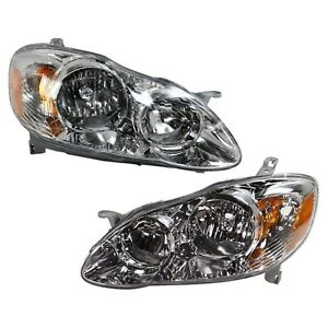 Headlight Set For 2005 2008 Toyota Corolla Left And Right Chrome Housing 2pc